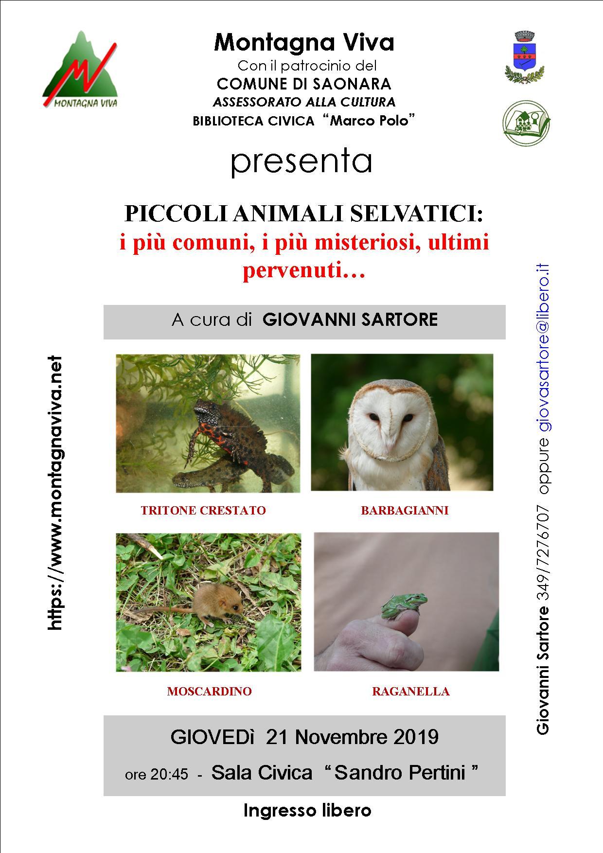 Serata con Giovanni Sartore 21 novembre 2019