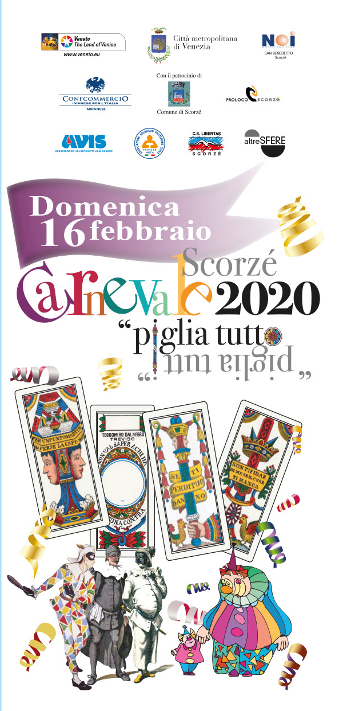 volantino fronte carnevale pro loco scorze 2020 loveitaliafun